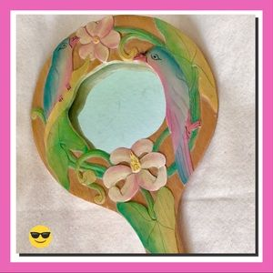 Gorgeous! Hand Mirror Vintage Parrot Flowers Wood